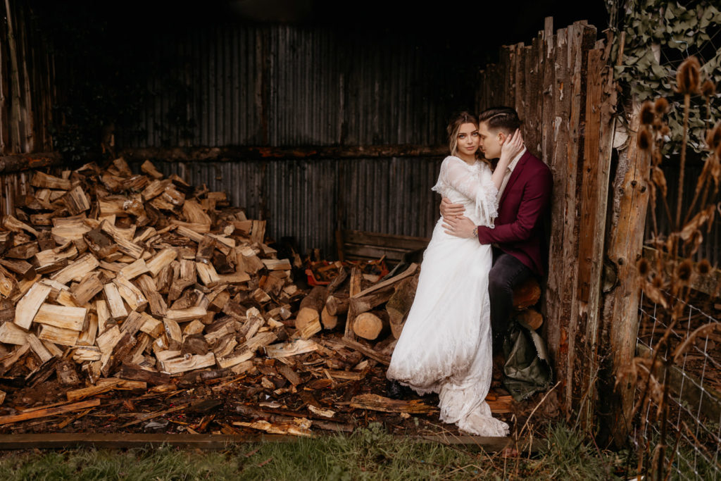 Scotland woodland elopement couple in a wood shed