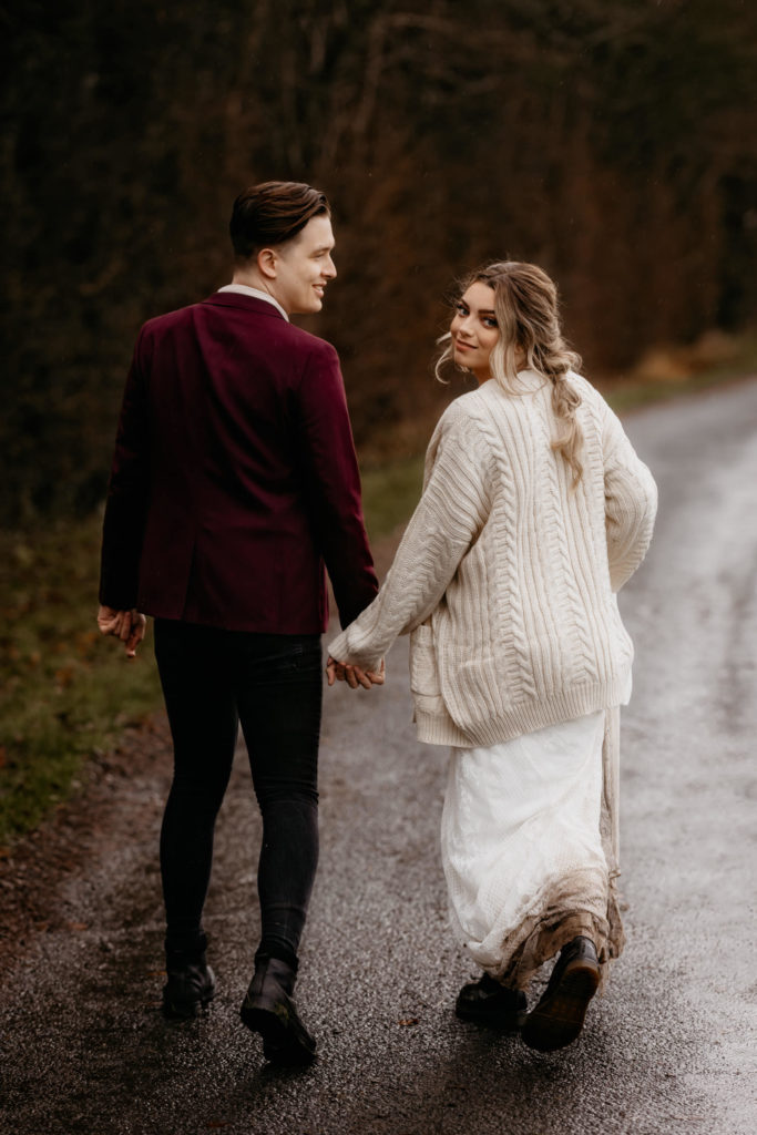 Scotland woodland elopement couple on a path