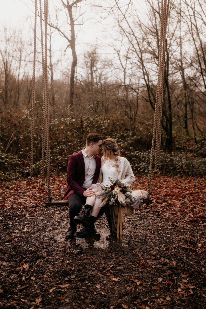 Scotland woodland elopement couple gazing into each other's eyes.