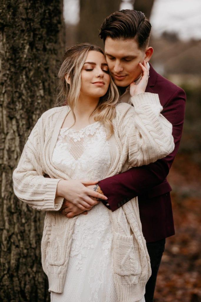 Elopement couple enjoying an intimate woodland elopement