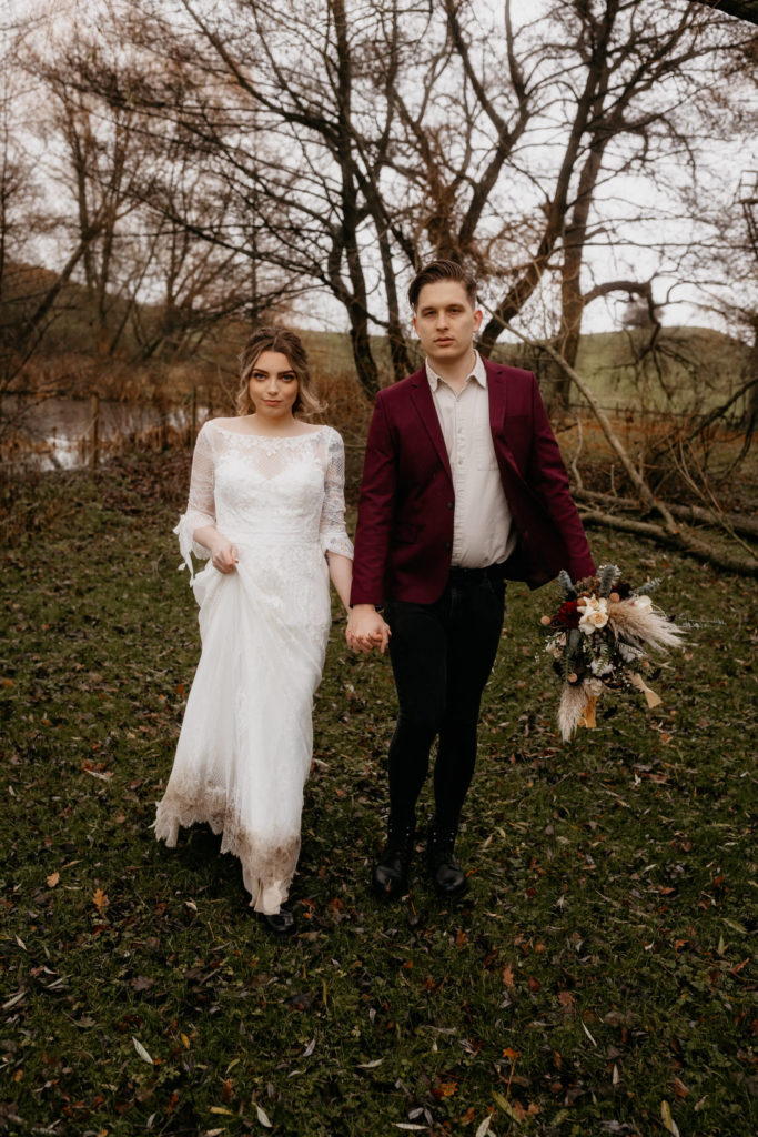 Scotland woodland elopement couple by a lake