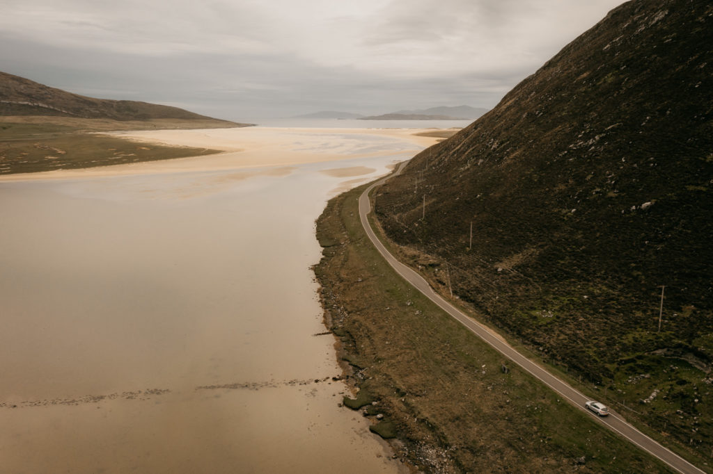 Isle of Harris road by drone