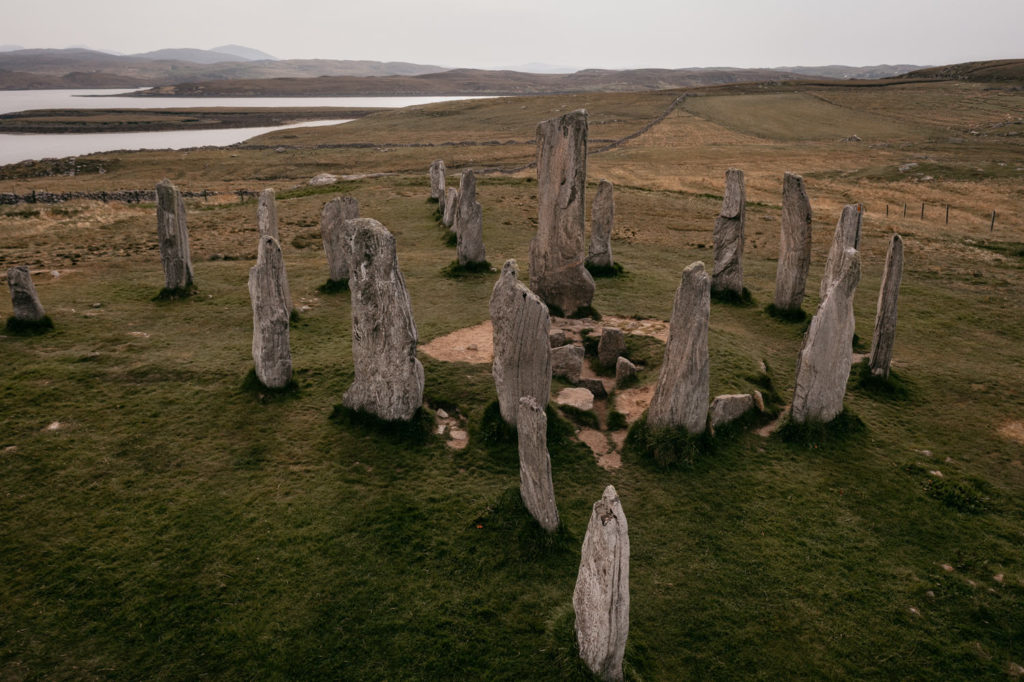 Callanish standing stone by drone, Isle of Lewis, Outer Hebrides