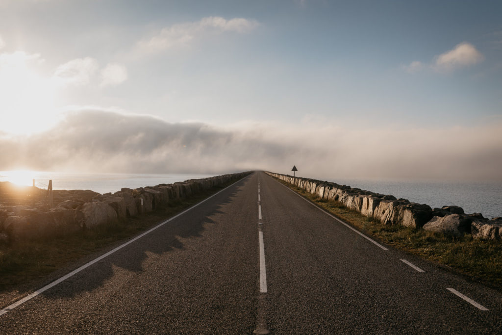 Road bridge Outer Hebrides with cloud rolling over